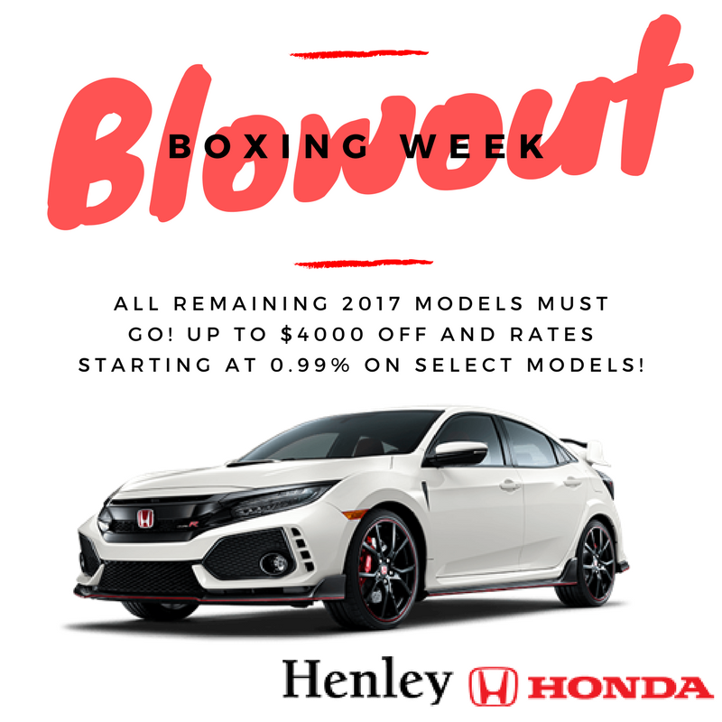 boxing week blowout henley honda